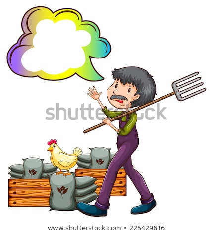 A farmer with an empty cloud callout Stock photo © bluering