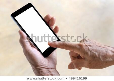 Kopott kezek mobilok érintőképernyő nő okostelefon Stock fotó © Giulio_Fornasar
