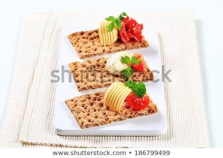 szalámi · krém · sajt · barna · kenyér · tekert - stock fotó © digifoodstock
