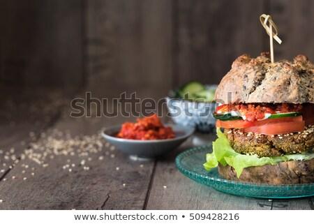 hamburger · házi · készítésű · olajbogyó · kenyér · zöldségek · kerámia - stock fotó © faustalavagna