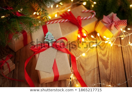 christmas congratulation wrapped red paper stock photo © romvo