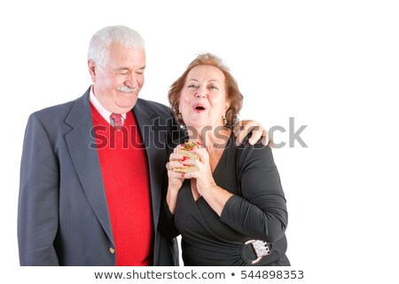 Ecstatic senior woman receiving a Valentines gift Stock photo © ozgur