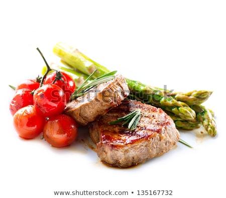 carne · batatas · espargos · branco · fundo · carne - foto stock © janssenkruseproducti