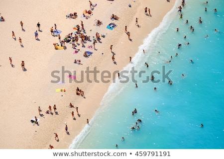 Playa escena personas tomar el sol ilustración árbol Foto stock © bluering