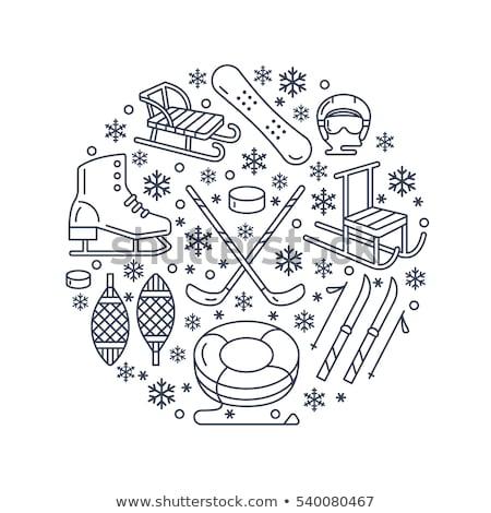 Winter sports banner, equipment rent at ski resort. Vector line icon of skates, hockey sticks, sleds Stock photo © Nadiinko
