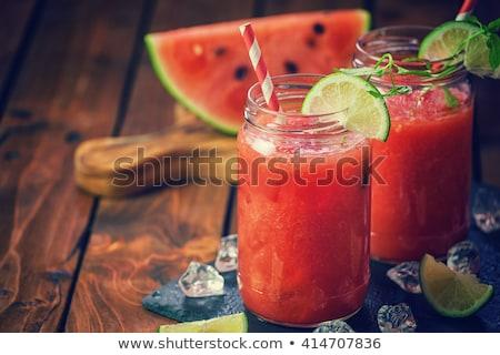 smoothie · görögdinnye · díszített · menta · víz · üveg - stock fotó © m-studio