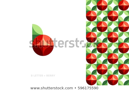 Elegant Vector Logo Template Or Icon Of Red Berry With Leaf And Pattern Photo stock © ussr