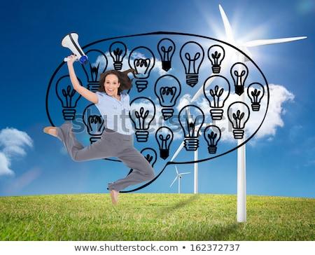 üzletasszony · ugrik · villanykörték · ötlet · kaukázusi · üzlet - stock fotó © rastudio