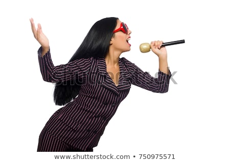 Stock photo: Woman singing in karaoke club isolated on whie