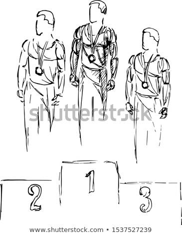 Férfi aranyérem három sport művészet jókedv Stock fotó © bluering