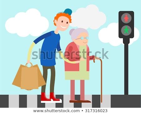 Dziecko staruszka przejście dla pieszych ilustracja drogowego pomoc Zdjęcia stock © adrenalina
