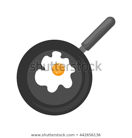 Vector flat style illustration of frying pan with scrambled eggs Stock photo © curiosity