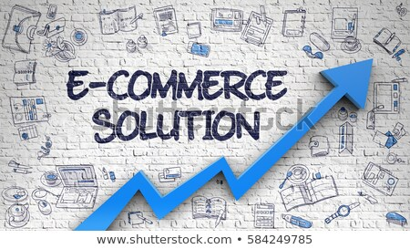 Stock photo: E-Commerce Solution Drawn on White Brickwall.