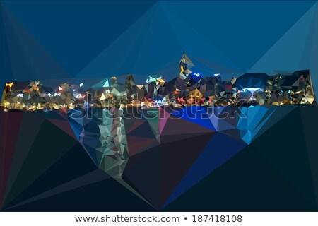 Foto stock: Noite · porto · cor · abstrato · linha · do · horizonte · moderno