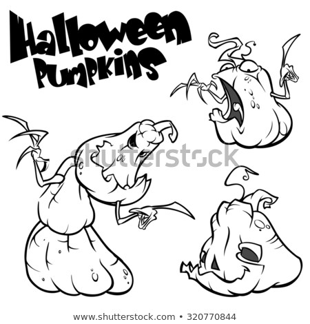 pumpkin vector icons set halloween scary faces design set horror decoration in black on white back stock photo © redkoala