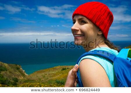 女性 リュックサック 絵のように美しい 地形 赤 帽子 ストックフォト © vlad_star