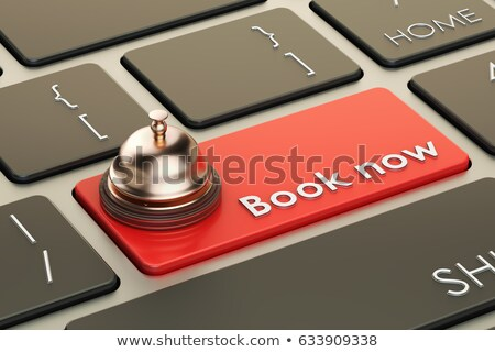 Stockfoto: Keyboard With Red Button - Book Now 3d