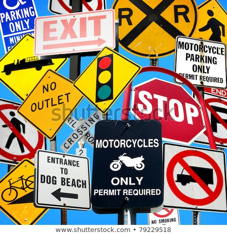 Stock photo: handicapped and motorcycle parking sign arrow