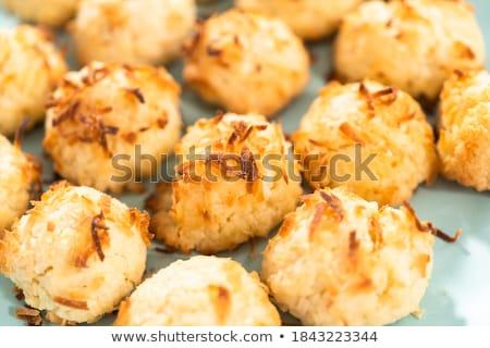 Sweet кокосового Cookies пластина белый салфетку Сток-фото © Digifoodstock