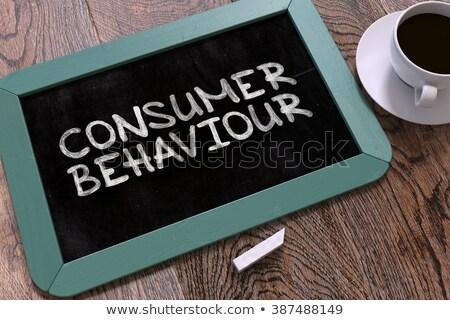 потребитель поведение рисованной доске синий деревянный стол Сток-фото © tashatuvango