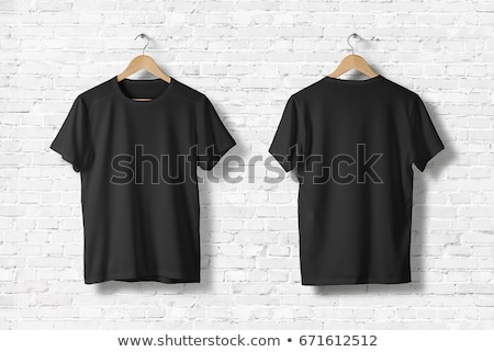 Stock photo: woman in blank black t-shirt