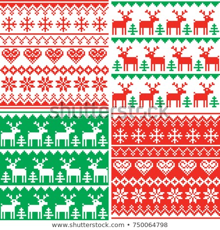christmas vector patttern set winter seamless design collection ugly xmas jumper style stock photo © redkoala