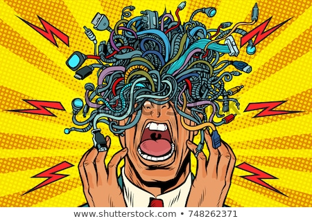 panic people wire adapter cables pop art background Stock photo © studiostoks