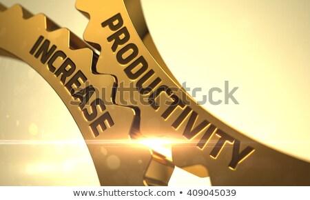 Arany fogaskerekek produktivitás növekedés mechanizmus fémes Stock fotó © tashatuvango