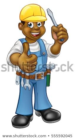 Preto desenho animado eletricista handyman chave de fenda Foto stock © Krisdog
