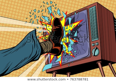 Leg breaks TV, concept fake news Stock photo © studiostoks