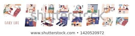 nő · alszik · asztal · fáradt · vektor · terv - stock fotó © rastudio