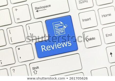 Mavi iş istatistik düğme klavye Stok fotoğraf © tashatuvango