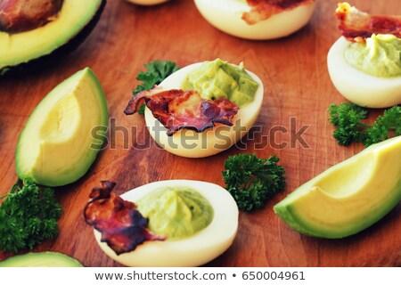 Stok fotoğraf: Kahvaltı · yumurta · avokado · jambon · Paskalya · gıda