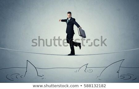 бизнесмен туго натянутый канат Поп-арт ретро улыбка счастливым Сток-фото © studiostoks