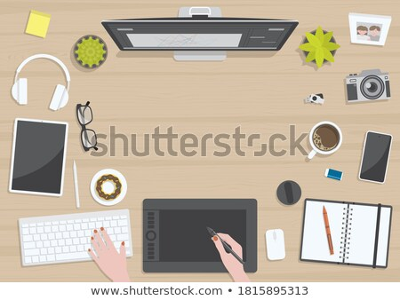 Górę widoku ilustracja cyfrowe pracy komputera Zdjęcia stock © Sonya_illustrations