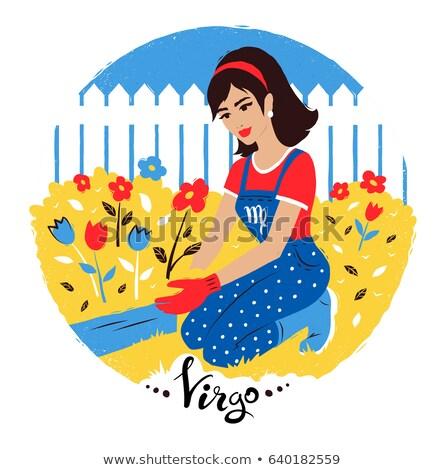 virgo zodiac sign with woman working in garden stock photo © sonya_illustrations
