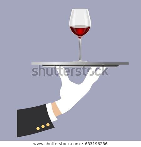 Kéz kesztyű tálca üveg vörösbor üveg Stock fotó © DenisMArt