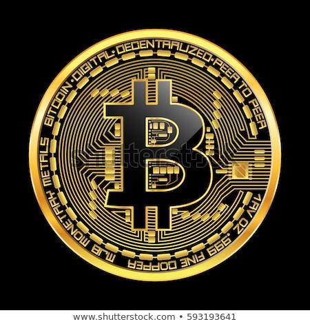 Bitcoin fekete érme szemben kamera éles Stock fotó © compuinfoto