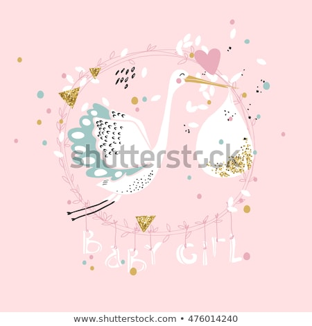 stork baby with baby girl on pink background stock photo © bluering