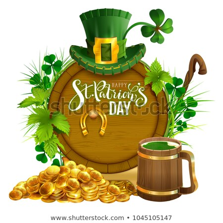 St. Patrick's day party text greeting card. Gold coins, wooden barrel and mug beer, gold horseshoe,  Stock photo © orensila