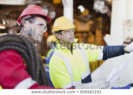 Pracowników plany platforma wiertnicza spotkanie pracy Zdjęcia stock © IS2