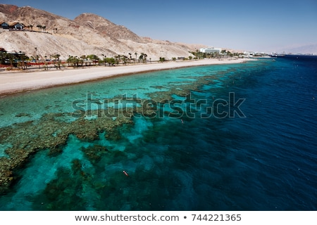 Part Vörös-tenger kilátás egyiptomi hotel felhők Stock fotó © Givaga