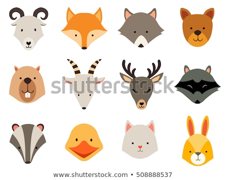 Animal set. Portrait in flat graphics - Goat Stock photo © FoxysGraphic