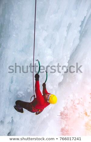 Adam buz tırmanma dağ güvenlik halat Stok fotoğraf © IS2