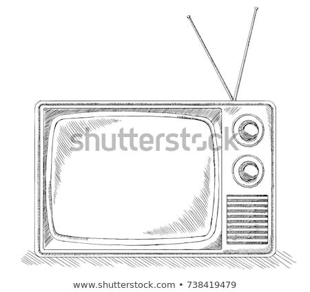 Kroki tv retro tarzı yalıtılmış beyaz izlemek Stok fotoğraf © Arkadivna
