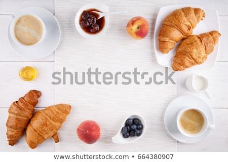 Lezzetli kahvaltı taze kruvasan olgun karpuzu Stok fotoğraf © Melnyk