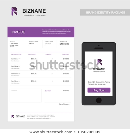 Stok fotoğraf: Clean Purple Business Invoice Template Design