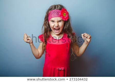 улыбаясь · девушки · серый · платье · позируют · волос - Сток-фото © elnur