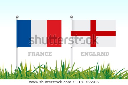 Flags of France and England against the backdrop of grass football stadium. Vector Stock photo © m_pavlov