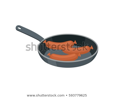 Sausages in pan to fry. Meat delicacy. Food isolated Stock photo © popaukropa